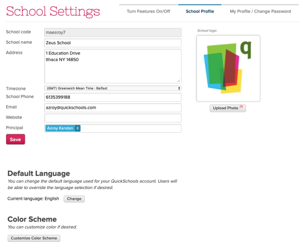 Color Scheme on School Settings