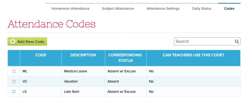 Custom Attendance Codes