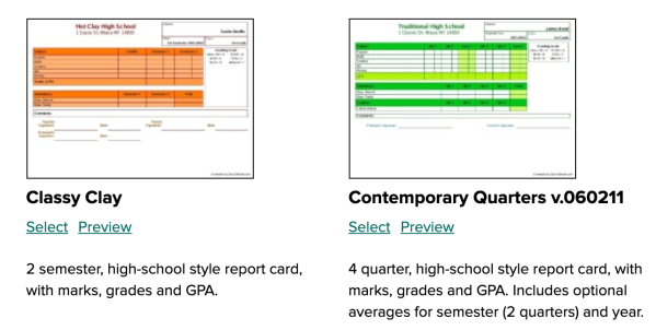 Multi-Term Report Card Templates