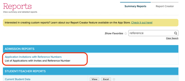 Application Invitations with Reference Numbers report