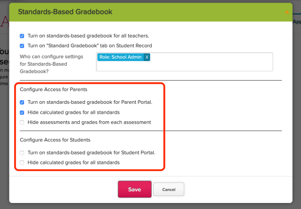 Configure Access for the Standards-Based Gradebook (SBG) App