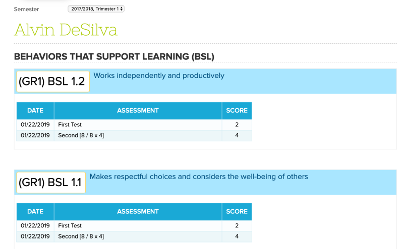 SBG Standards with Assessments ONLY (No Total Grade)