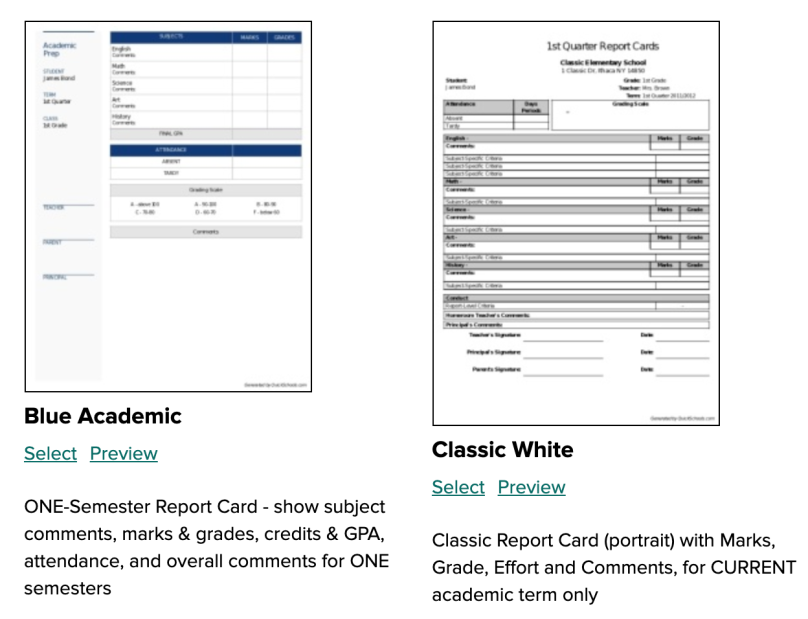 Single-Term Report Card Templates