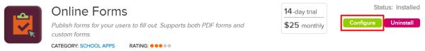 Online Forms Configure