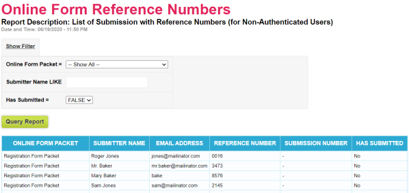 Online Forms Reference Number Report