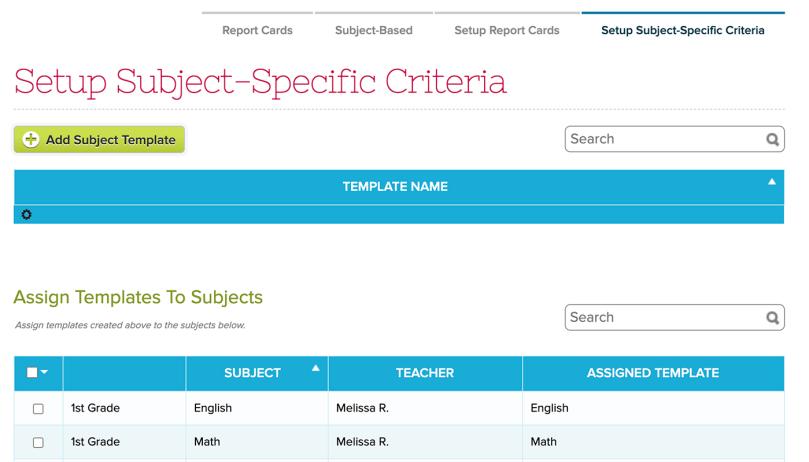 Subject-Specific Criteria Tab